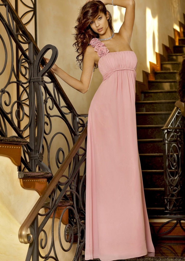 2015-one-shoulder-pink-chiffon-floor-length-bridesmaid-dress-by ...